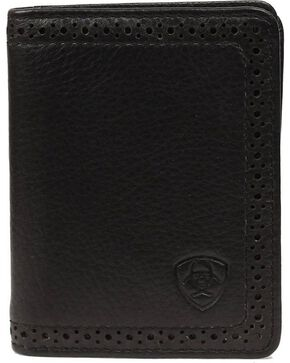 Ariat Men's Leather Bi-Fold Flipcase Wallet, Black, hi-res