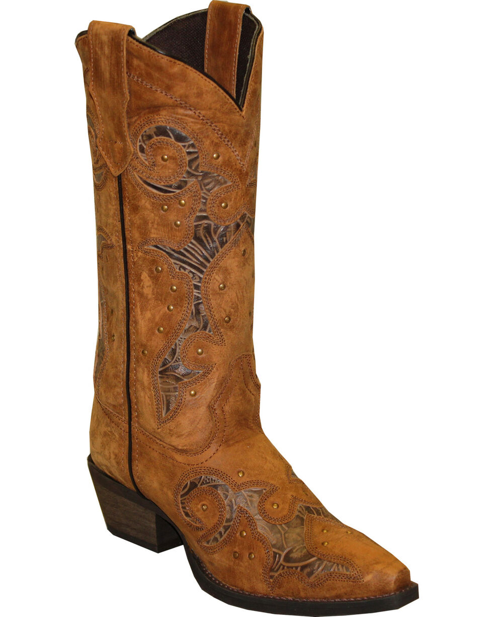 Rawhide by Abilene Women's Cutout and Nailheads Western Boots - Snip Toe, Tan, hi-res