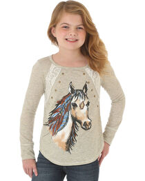 Wrangler Girls' Ivory Glitter Horse Lace Tee , , hi-res