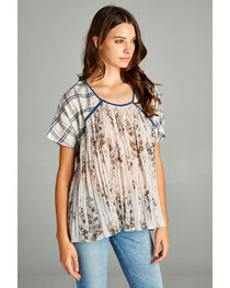 Hyku Women's Navy Plaid Mix Crinkle Flower Top, , hi-res