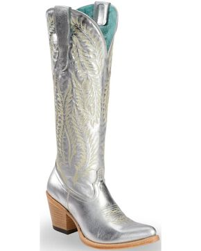 Corral Women's Silver Embroidery Tall Top Cowgirl Boots - Round Toe, Silver, hi-res