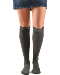 Blazin Roxx Grey Lace Top Knee-High Socks, , hi-res