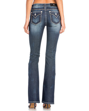 Miss Me Women's Classic Flap Pocket Boot Cut Jeans , Indigo, hi-res