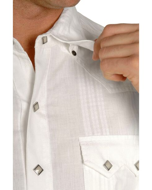 Scully Men's Tone-on-tone Dobby Striped Western Shirt, White, hi-res
