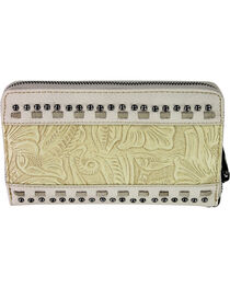 Montana West Trinity Ranch Beige Tooled Design Wallet, , hi-res