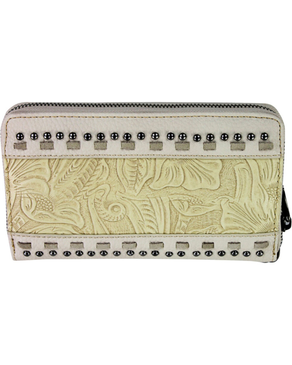 Montana West Trinity Ranch Beige Tooled Design Wallet, Brown, hi-res