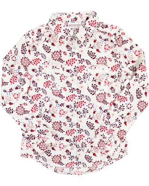 Shyanne® Girls' Floral Printed Long Sleeve Shirt, Multi, hi-res
