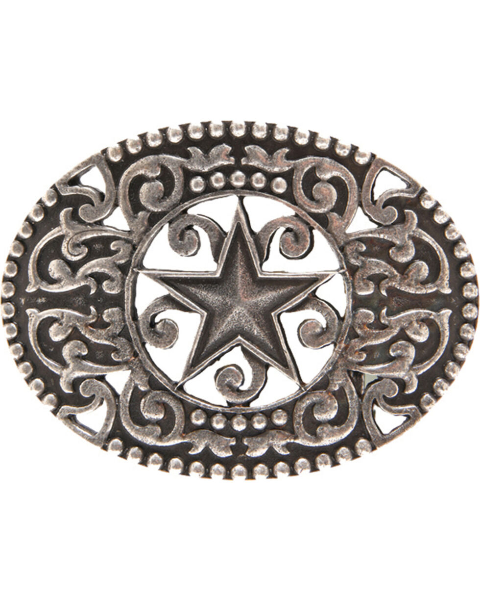 AndWest Men's Antique Pewter Stars & Scrolls Belt Buckle, Silver, hi-res