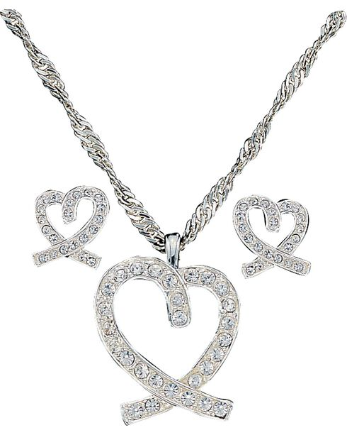 Montana Silversmith Women's Heart Jewelry Set, Silver, hi-res