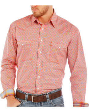 Rough Stock by Panhandle Men's Western Patterned Long Sleeve Shirt, Coral, hi-res