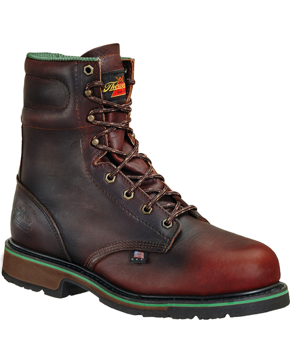 "Thorogood Men's 8"" American Heritage Static Dissipative Work Boots - Steel Toe, Dark Brown, hi-res"