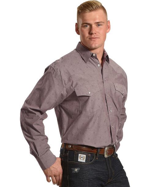 Resistol Men's Glennville Snap Western Shirt, Burgundy, hi-res