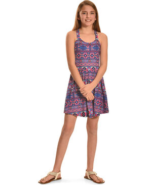 Derek Heart Girls' Cross Back Skater Dress with Scoop Back, Pink, hi-res