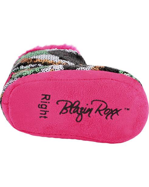 Blazin Roxx Infant Girls' Sequin Camo & Pink Plush Bootie Slippers, Hot Pink, hi-res