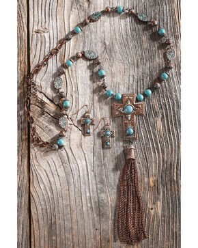 Shyanne Women's La Rosita Beaded Cross Stone Tassel Jewelry Set, Turquoise, hi-res