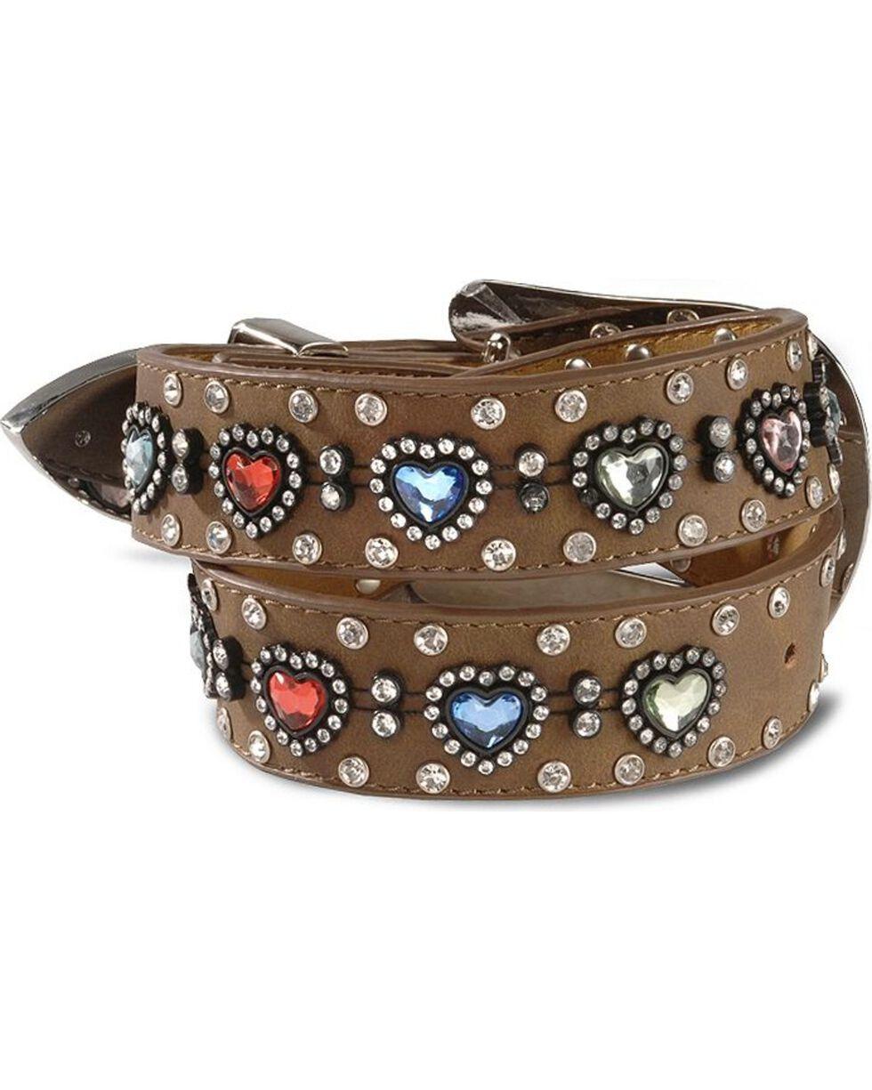 Nocona Belt Co. Kid's Crystal Heart Belt, Brown, hi-res