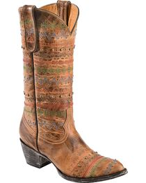 Old Gringo Yippee Ki Yay Line Stitched & Studded Cowgirl Boots - Medium Toe, , hi-res