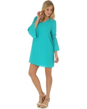 Wrangler Women's Bell Sleeve Dress, Green, hi-res