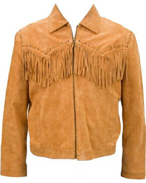 China Leather Men's Suede Fringe Jacket, Brown, hi-res
