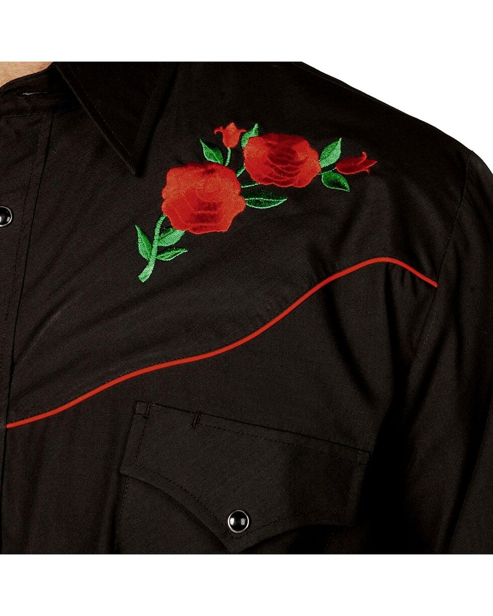 Ely Walker Men's Embroidered Rose Long Sleeve Western Shirt, Black, hi-res