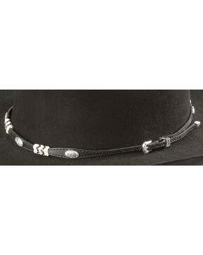 Rawhide & Concho Embellished Black Leather Hat Band, Black, hi-res