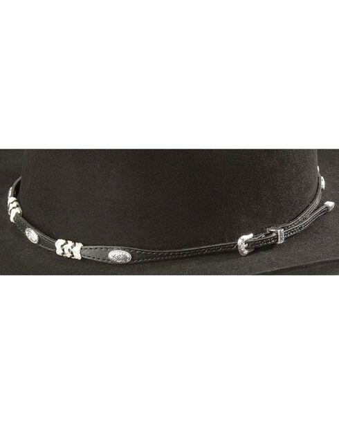 Rawhide & Concho Embellished Black Leather Hat Band, Black, hi-res