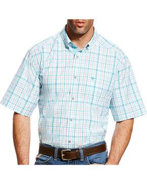 Ariat Men's Blue Griffin Plaid Short Sleeve Shirt , White, hi-res