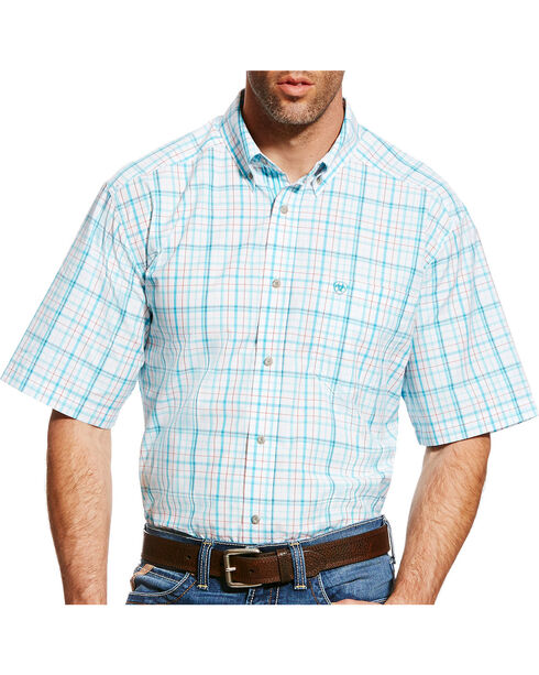 Ariat Men's Blue Griffin Plaid Short Sleeve Shirt , White, hi-res