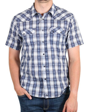 Cody James® Men's Rattler Plaid Short Sleeve Shirt, Navy, hi-res