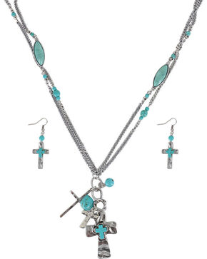 Shyanne® Women's Cross Charm Jewelry Set, Silver, hi-res
