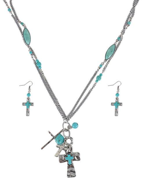 Shyanne® Women's Cross Charm Jewelry Set, Silver, hi-res