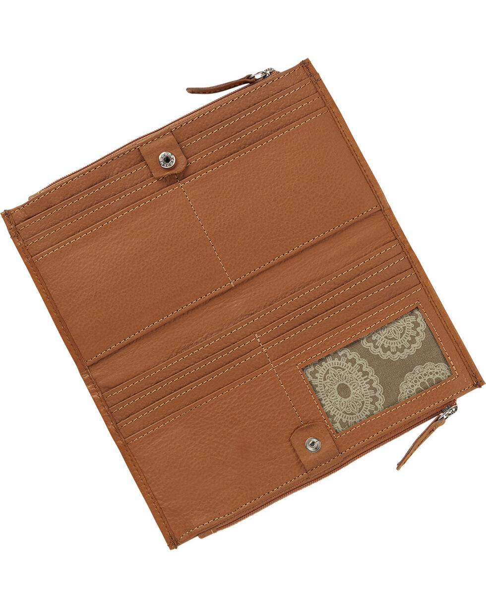 American West Women's Foldover Western Wallet, Tan, hi-res