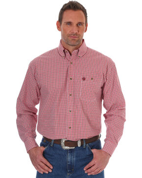 Wrangler George Strait Men's Red Print Long Sleeve Shirt - Tall, Red, hi-res