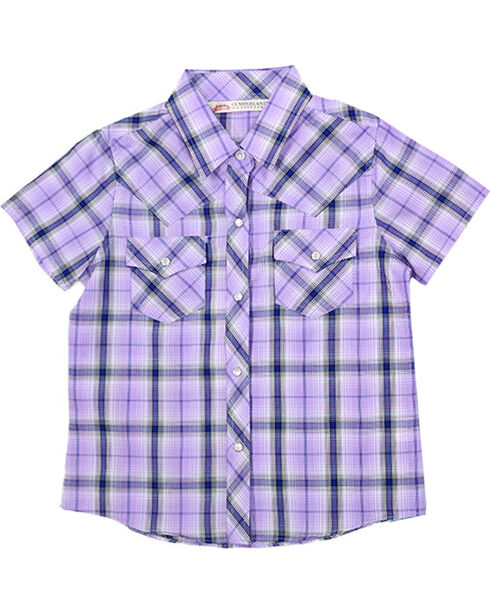 Cumberland Outfitters Girls' Assorted Short Sleeve Plaid Western Shirt, Multi, hi-res