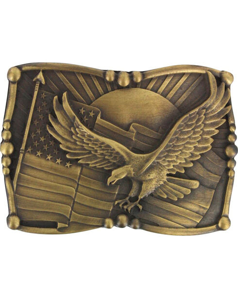 Cody James® Men's Antiqued American Flag and Eagle Belt Buckle, Brown, hi-res