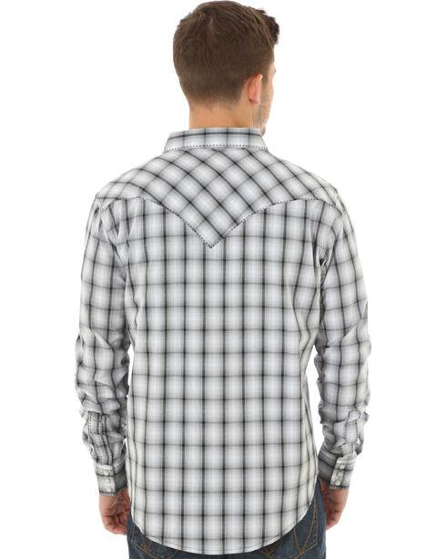 Wrangler Men's Black & White Plaid Western Jean Shirt, Black, hi-res
