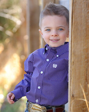 Cinch Infant Boys' Match Dad Purple Print Long Sleeve Button Down Shirt, Purple, hi-res