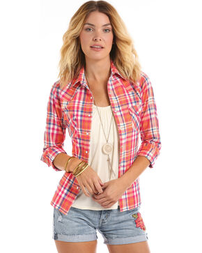 Panhandle Women's Corral Plaid Western Long Sleeve Shirt, Coral, hi-res
