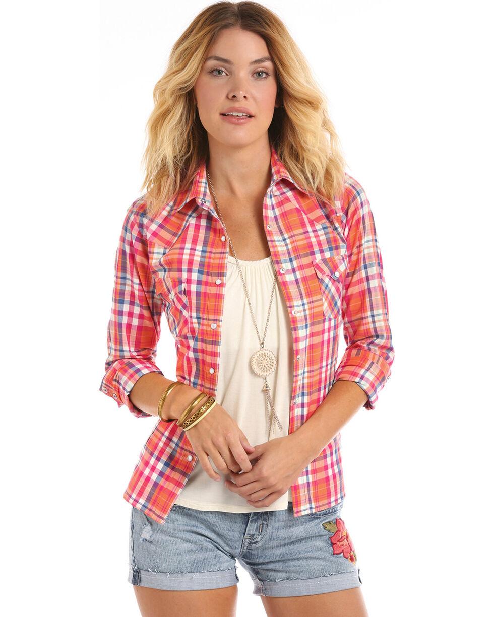 Panhandle Women's Corral Plaid Western Long Sleeve Shirt, , hi-res