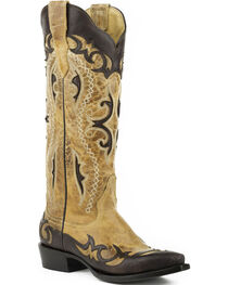Stetson Women's Vivi Tan Wingtip with Underlays Western Boots - Snip Toe , , hi-res