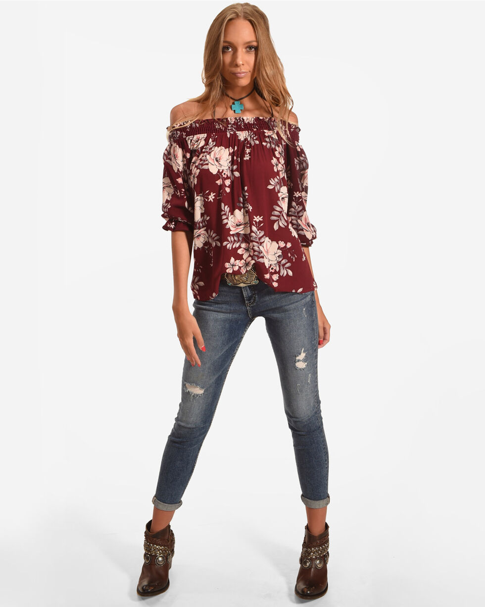 Ivory Love Women's Floral Smocked Off Shoulder Top, Wine, hi-res