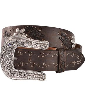 Justin Women's Country Daisy Belt, Dark Brown, hi-res