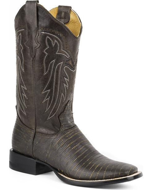 Roper Women's Lizzy Faux Teju Leather Cowgirl Boots - Square Toe, Dark Brown, hi-res