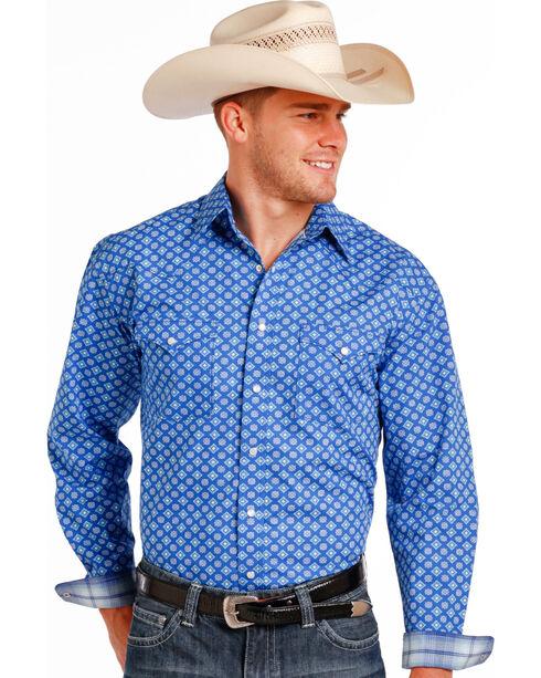 Panhandle Slim Men's Blue Stablecrest Vintage Print Long Sleeve Shirt , Blue, hi-res