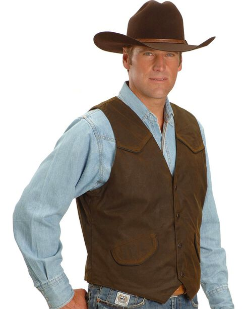 Outback Trading Co. Cliff Dweller Berber Lined Oilskin Vest, Bronze, hi-res