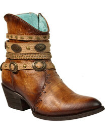 Corral Women's Zipper Studded Ankle Harness Fashion Boots - Round Toe, , hi-res