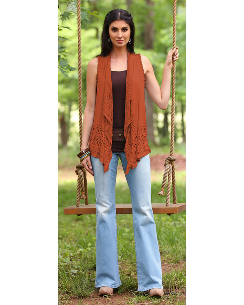 Wrangler Women's Braided Vest, Rust, hi-res