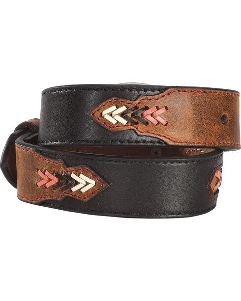 Hooey Girls' Brown Fancy Stitch Belt , Brown, hi-res