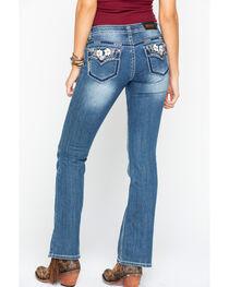 Shyanne® Women's Low Rise Floral Boot Cut Jeans, , hi-res