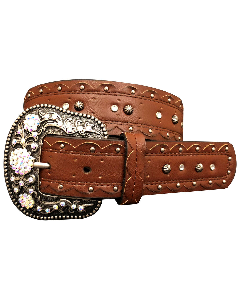 Cowgirls Rock Women's Brown Scalloped Edge Rhinestone Buckle Belt, Brown, hi-res